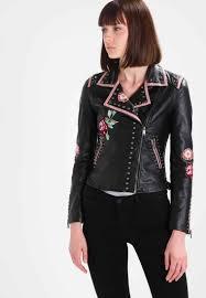 guess amanda faux leather jacket jet black