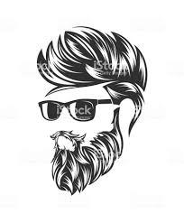 メンズ ヘアスタイルと顔のひげ口ひげと Hirecut あごヒゲのベクター