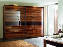 Elegant Veneer Wood Sliding Closet Doors With Glass Framed with ...