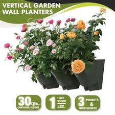 18 in self watering 3 pockets vertical wall garden plastic planters