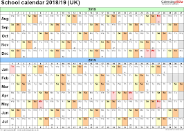 School Calendars 2018 2019 As Free Printable Excel Templates