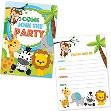 Safari Party Invitations Amazon Com Safari Jungle Zoo Animals Party Invitations For Kids