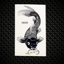 3d черный карп водонепроницаемый временные татуировки средства ухода за кожей