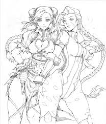 Small Picture Chunli and Cammy lineart by KenshjnPark on deviantART