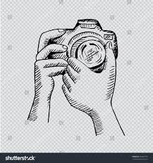 hand holding mirror drawing. Two Hands Holding A Camera. Hand Drawing Illustration. Transparent Background. Mirror