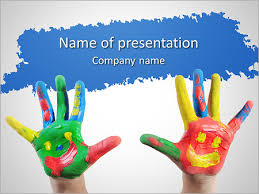 Childs Hands In Paint Powerpoint Template Infographics Slides