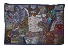 image is loading cotton wall hanging patchwork embroidered throw indian tapestry uk