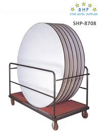 shp 8708 hotel metal round table trolley in red carpet