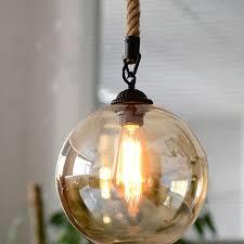 <b>Loft Vintage Retro Pendant</b> Lights Industrial Glass Ball Hemp Rope ...