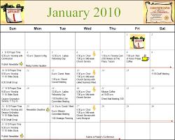 2010 Calendar January Vistoso Community Church Calendar January 2010
