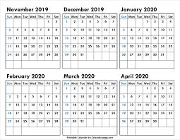 6 Month November 2019 To April 2020 Calendar Template