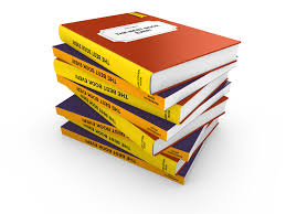 a mixed 3d stack of hardcover and paperback books