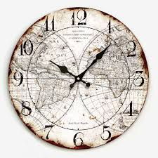 34cm digital vintage wooden wall clock retro style crafts for cafe kitchen world map printing home