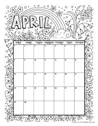 April 2018 Coloring Calendar Page Woo Jr Kids Activities