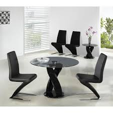 Round Smoked Glass Dining Table Twin Twirl 106cm Round Smoked Glass Dining Table With 4 Dining