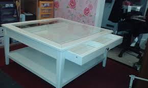 glass top display coffee table with drawers awesome high gloss white cm coffee table with glass top coffee