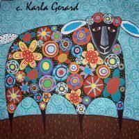rug hooking patterns. kg - blooming sheep rug hooking pattern karla gerard folk artist patterns