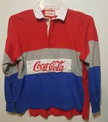 vintage 80 s coca cola polo rugby shirt medium red gray blue long sleeve