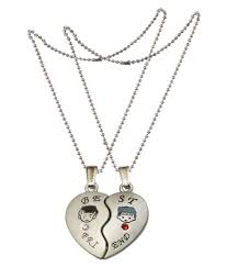 men style best friend matching hearts crystal friendship gift with 2 chain silver zinc alloy heart pendant at low in india snapdeal