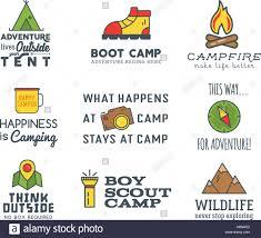 Camping Logo Design Mit Typografie Und Elemente Kompass Berg