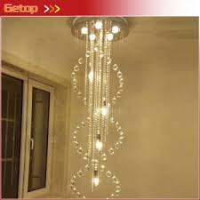latest modern duplex living room chandeliers villa staircase crystal chandelier lights spiral led lights indoor lightings