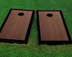 Wooden Corn Hole Game Grey Border Hardcourt Stained Cornhole Board Game Set with 49