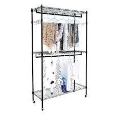rod closet organizer garment rack clothes storage hanger shelf hooks black organizers racks hanging systems