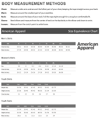 American Apparel Size Chart American Apparel Sizing Chart Amerasport