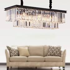 meelighting l39 4 w10 2 rectangle modern crystal chandelier lighting raindrop pendant light dining