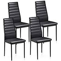 popamazing black faux leather parson dining chair high back seat for kitchen dining room set