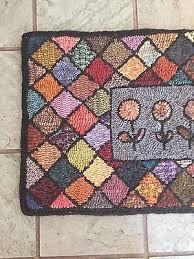 1 of 4 hand made primitive hooked rug runner folk flowers multi color diamond grid 2
