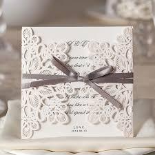 Ivory Laser Cut Wedding Invitations Elegant Gray Ribbon Spring Wedding Invitation Wlc015