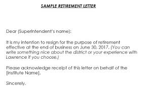 Retirement Letter Samples 9 Formats Retirement Letter