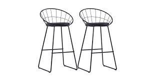 <b>Bar Chairs 2 pcs</b> Black Faux Leather - Matt Blatt