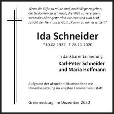 Ida Schneider : Traueranzeige, Wochenspiegel