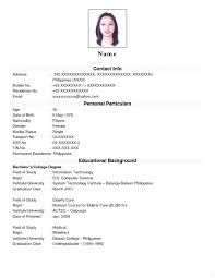 Sample Curriculum Vitae For Job Application Curriculum Vitae Format For Job Application Barca