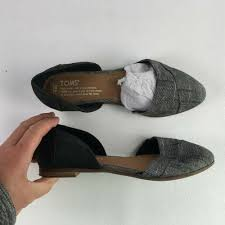 details about toms womens gray black leather chambray jutdsa flat 6 t616038