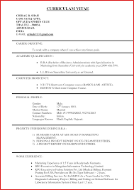 Beautiful Us Resume Format Personel Profile