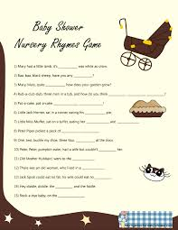 nursery rhyme game for baby shower in brown color