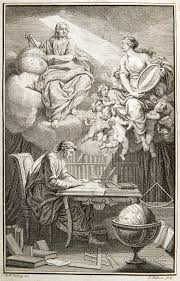 voltaire  in the frontispiece to voltaire s book on newton s philosophy emilie du chatelet appears as voltaire s muse reflecting newton s heavenly insights down to