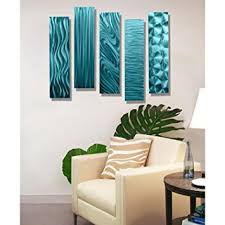 amazon statements2000 aqua metal wall art decor 5 piece set of modern wall art by jon allen metal art 5 easy pieces aqua home kitchen on brown and teal metal wall art with amazon statements2000 aqua metal wall art decor 5 piece set of