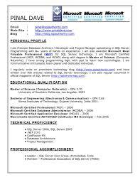 Database Developer Resume Resume Templates