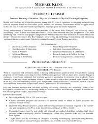 Personal Trainer Resume Sample Template Sensational Templates