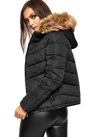 womens faux fur hooded long sleeve padded quilted coat las puffer jacket