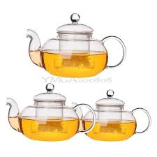 details about heat resistant clear glass teapot with infuser coffee tea leaf herbal pot gift