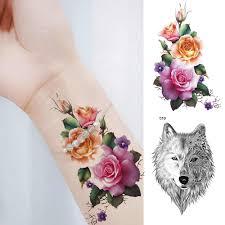 временные татуировки акварель для женщин лотоса поддельные татуировки наклейки