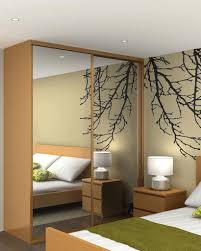 Sliding Mirror Closet Doors For Bedrooms Interior Charming Bedroom Design With Cream Floral Bed Sheet And