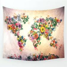 world map tapestry flower urban outfitters