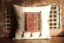 indian antique french cushions. Oblong Cushion With Vintage Mirrored Indian Textile And French Linen  Shells Indian Antique French Cushions I