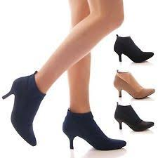 ladies womens low stretch ankle boots kitten high heel work office shoes size branch office shoe